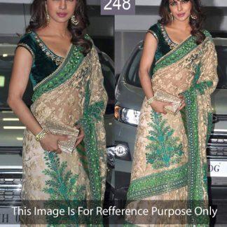 Bollywod Replica Priyanka Chopra Spotted on a Beige and Green Designer Saree-0