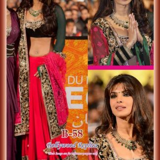 Bollywood Actress Priyanka Chopra Heavy Pink Lehenga-0