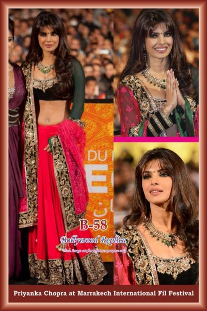Bollywood Actress Priyanka Chopra Heavy Pink Lehenga-0