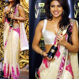 Bollywood Personality Priyanka Chopra IIFA Cream Saree-0