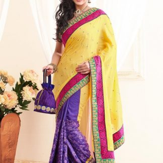 Pure Georgette Desi Violet and Yellow Saree-0