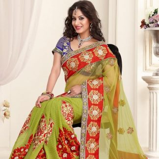 Astonishing Pure Net Faux Green and Red Designer Saree-0