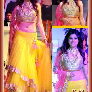 Bollywood Actress Shamita Shetty Bright Yellow Lehenga-0