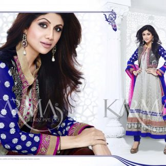 Bollywood Actress Shilpa Shetty Anarkali Suit with Velvet Jacket-0