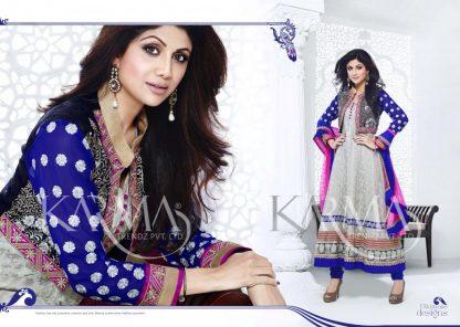 Bollywood Actress Shilpa Shetty Anarkali Suit with Velvet Jacket-0
