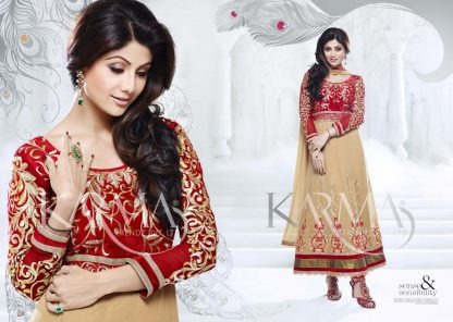 Bollywood Actress Shilpa Shetty Red and Cream Anarkali Suit-0