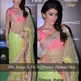 Shriya Saran Bollywood Replica Neon Green Saree-0