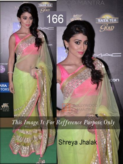 Shriya Saran Bollywood Replica Neon Green Saree-0
