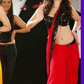 """Hot and Sizzling Black and Red Georgette Saree From The Music """"Dhak Dhak""""-0"""