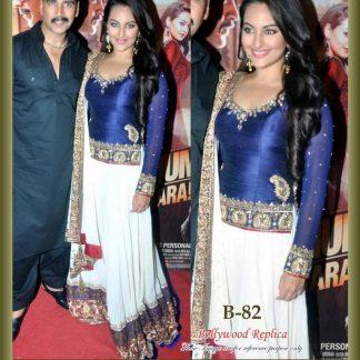 Bollywood Beauty Sonakshi Sinha Beautiful Crepe Lehenga-0