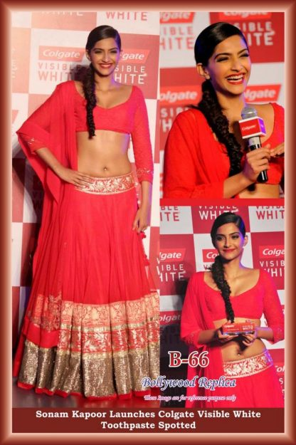 Beautiful Actress Sonam Kapoor Designer Peach Net Lehenga-0