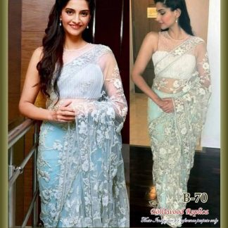Beautiful Actress Sonam Kapoor Stunning White Net Saree-0