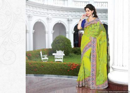 Spectacular Green and Blue Net Designer Saree-0
