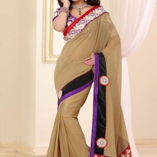 Splendid Designer Bridal Wear Brown Saree-0