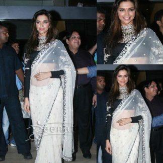 Stunning Bollywood Actress Deepika in Elegant White Saree-0