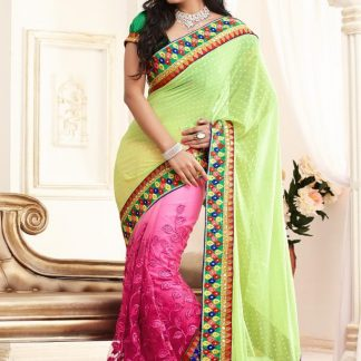 Stunning Neon Green and Pink Designer Saree-0