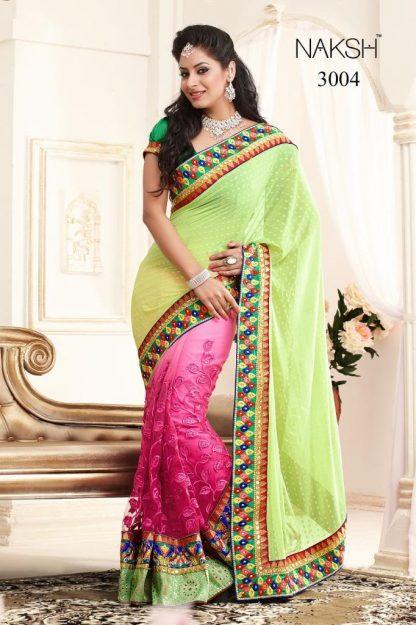 Stunning Neon Green and Pink Designer Saree-0
