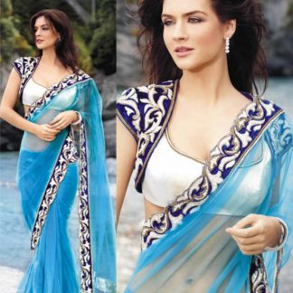 Look Stunning in Sea Blue Net Designer Saree-0