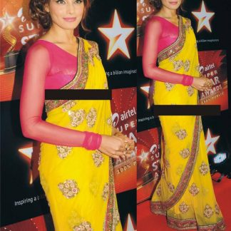Stylish Bipasha Basu in Attractive Yellow Net Saree-0