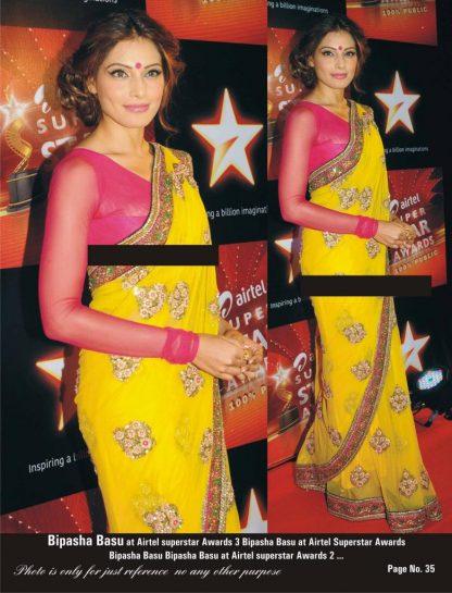 Stylish Bipasha Basu in Attractive Yellow Net Saree-0