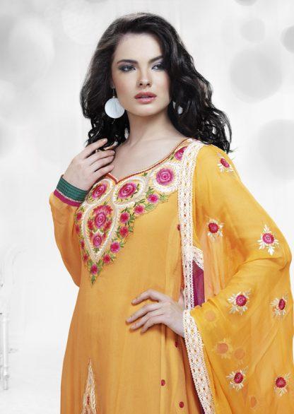 Stylish Designer Yellow and Red Salwar Kameez-0