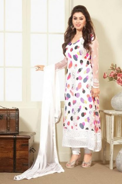 Actress Hansika Motwani in a Stylish White Long Chiffon Suit-0
