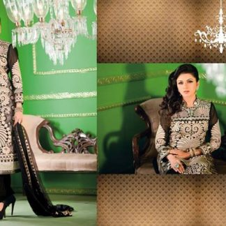 Long Black Salwar kameez with Trendy Band Collar Neck-0