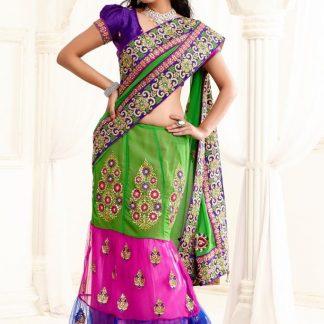 Trendy Multi Layered Netted Designer Saree-0