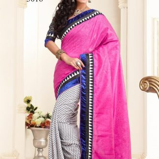 Beauteous Designer Pink with Violet and White and Grey Checks Saree-0