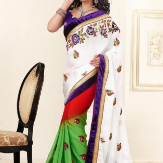 Mind Blowing White, Yellow and Orange Designer Saree-0