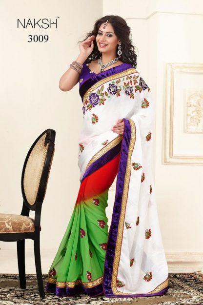 Mind Blowing White, Yellow and Orange Designer Saree-0