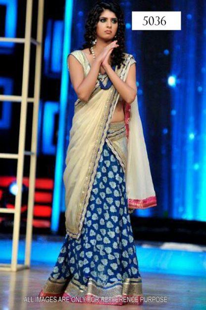 Aishwarya Blue and Cream Designer Lehenga-0