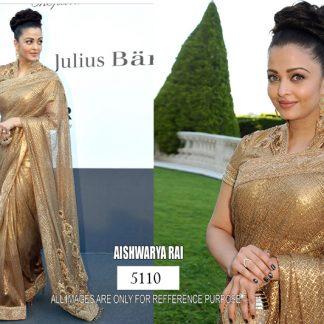 Bollywood Actress Aishwarya Rai Bacchan Netted Gold Saree with Zari Work-0