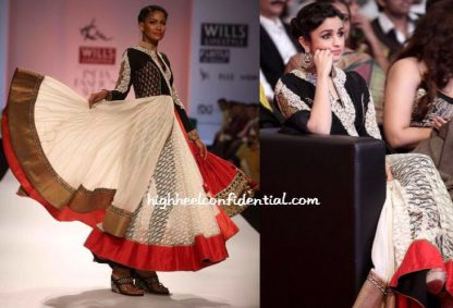 Beauty Alia Bhatt in White and Black Long Anarkali Dress-0