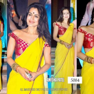 Amesha Patel Bright Yellow Saree-0