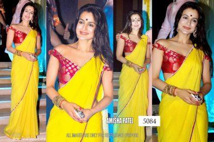 Amesha Patel Bright Yellow Saree-0