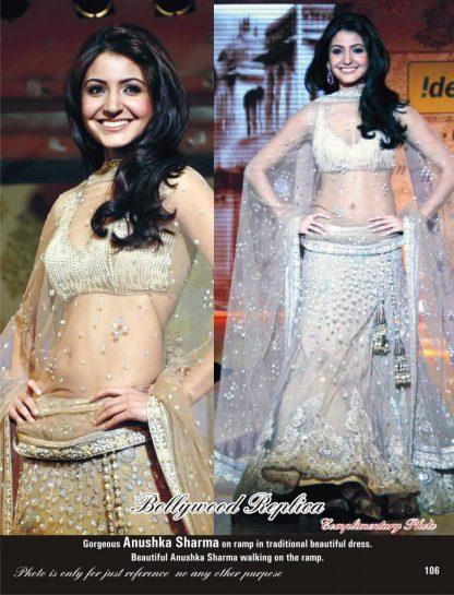 Anushka Sharma in Beige Lehenga with Sequins Zari Work -0