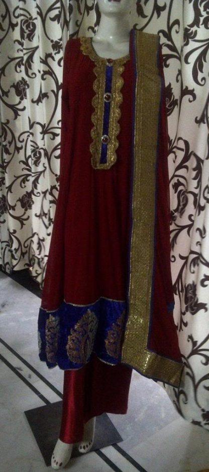 Beautiful Anarkali Salwar Suit in Maroon Color-0