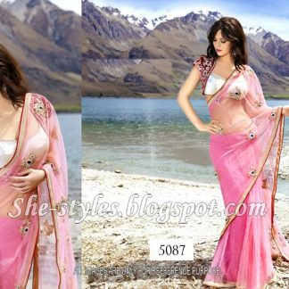 Beautiful Designer Saree with Shrug Style Blouse-0
