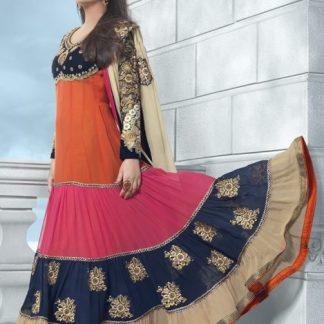 Designer Georgette Anarkali Suit with Beautiful Color Pattern Work-0