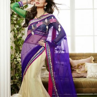 Beautiful Off White and Blue Lehenga Saree-0