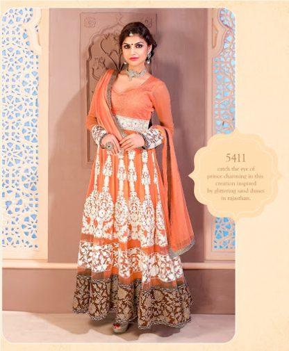 Beautiful Orange Semi Stitched Designer Dress Material-0