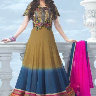 Beautiful Suit Dress Material in Brown and Blue Layer-0