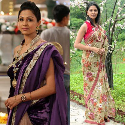Avantika Designer Velvet and Net Purple Saree-0