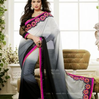 Designer Black and Gray Georgette Saree-0