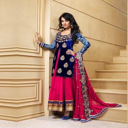 Beautiful Blue and Fuchsia Color Salwar Kameez-0