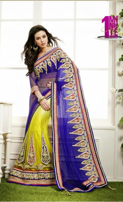 Beautiful Blue and Yellow Net Heavy Work Lehenga Saree-0