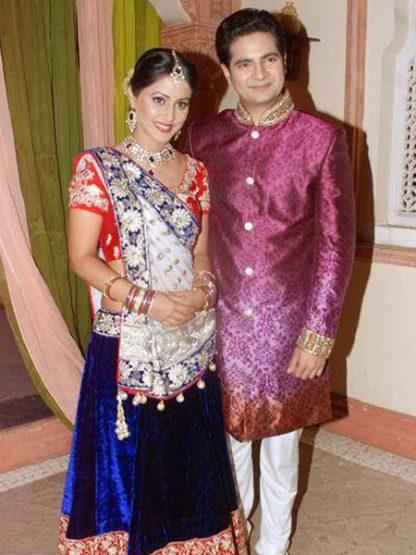 Blue Velvet Lehenga with Red Blouse a True Ethnic Wedding Wear-0