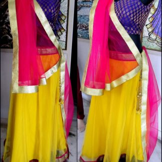 Designer Bright Yellow and Pink Lehenga-0