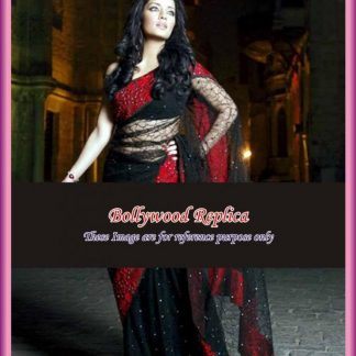 Style Icon Celina Jaitley in Elegant Black and Red Saree-0